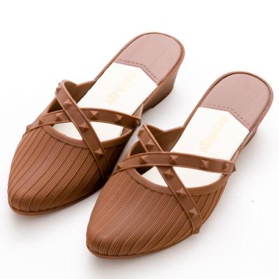 River-Moon防水鞋-歐美交叉鉚釘尖頭穆勒楔型鞋-棕
