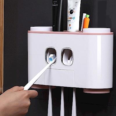 擠牙膏器牙刷四杯無痕收納掛架