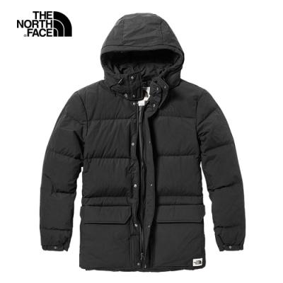 The North Face北面男款黑色保暖防潑水戶外羽絨外套|46J2JK3