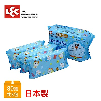 日本LEC DORAEMON小叮噹純水99.9%濕紙巾 80抽x3入包
