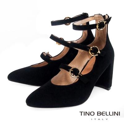 Tino Bellini細釦帶羊麂皮高跟鞋_黑