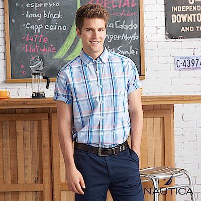 Nautica陽光型男格紋短袖襯衫-藍格