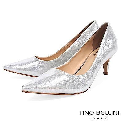 Tino Bellini 巴西進口質感耀眼低跟婚鞋 _ 銀