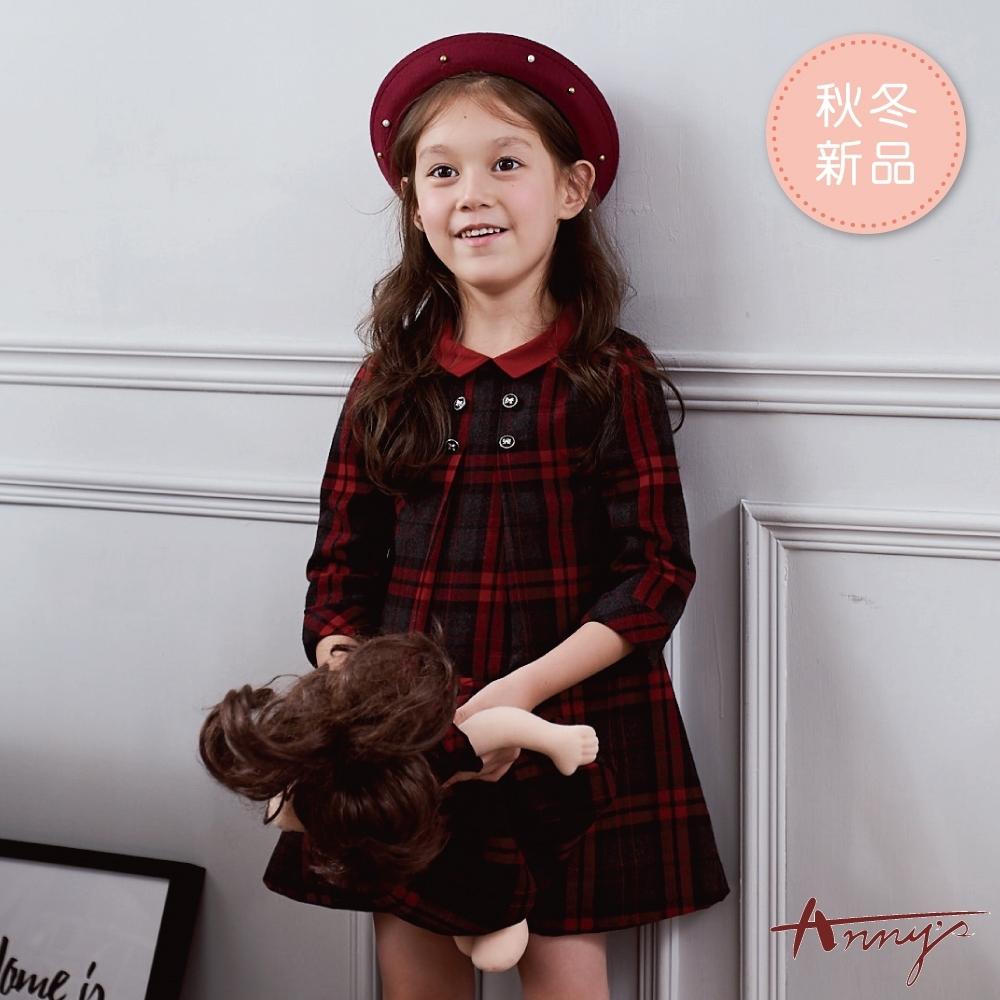 Annys安妮公主-學院格紋精緻蝴蝶結扣秋冬款長袖洋裝*9233灰色