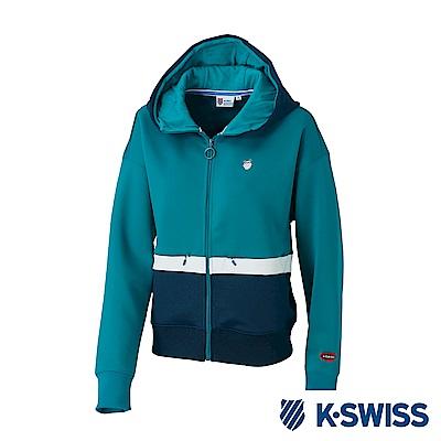 K-SWISS Hooded Sweat Zip up女時尚連帽外套-女-綠
