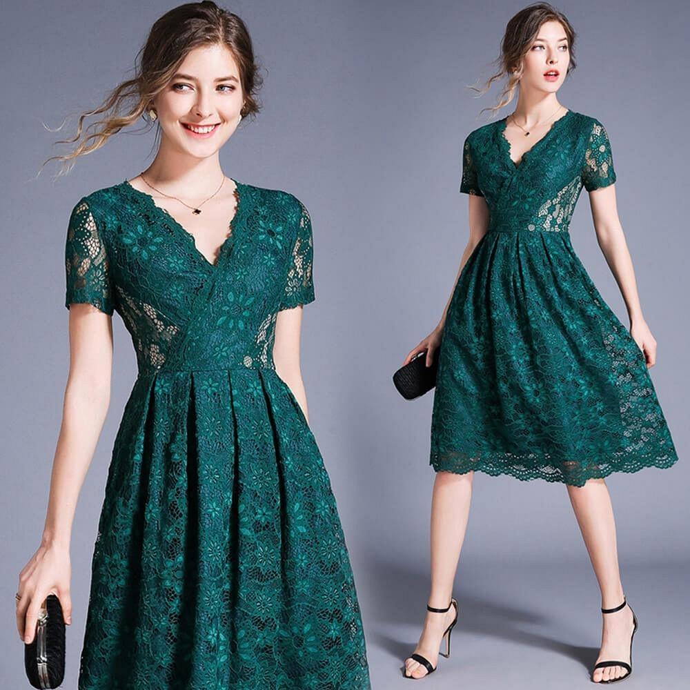 性感魅惑墨綠蕾絲V領鏤空雕花收腰洋裝S-2XL-M2M