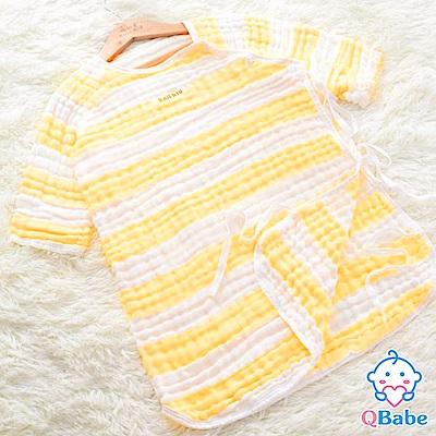 QBabe 六層紗條紋日式長袖防踢被(40x62)-黃色條紋