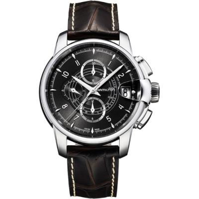 Hamilton RAILROAD 鐵路系列計時機械腕錶-黑x咖啡/46mm