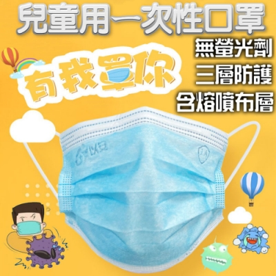 兒童 三層熔噴布立體三層防護防塵口罩-50片/盒 (非醫療級)