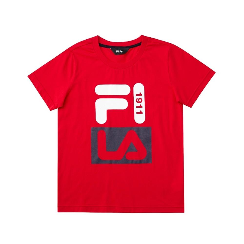 FILA KIDS 童短袖圓領上衣-紅色 1TEV-4901-RD