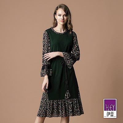 ILEY伊蕾 配色拼接葉子印花雪紡洋裝(綠)