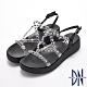 DN涼鞋_透視感線條水鑽交叉羅馬楔型涼鞋-黑 product thumbnail 1