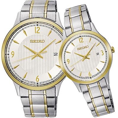SEIKO精工 CS系列城市戀人大三針對錶(SGEH82P1+SXDG94P1)-銀x雙色