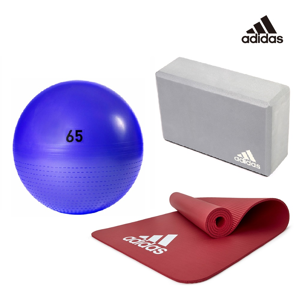 Adidas 瑜伽三件組(瑜珈球-紫65cm+運動墊-紅7mm+瑜珈磚)