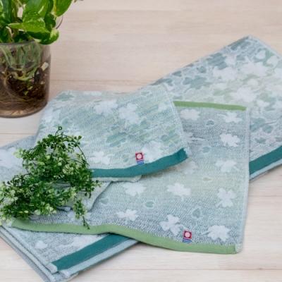 日本派迪 今治100%純綿漸層幸運草個人適用毛巾組(方巾x1+毛巾x1)