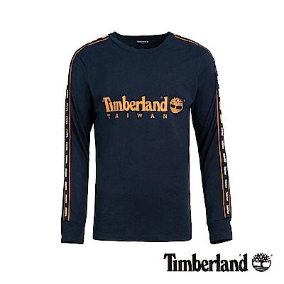 Timberland 男款藍色台灣限定LOGO織帶長袖T恤|A1YF9