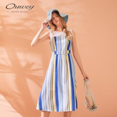 OUWEY歐薇 夏日撞色條紋蕾絲拼接無袖洋裝(藍)