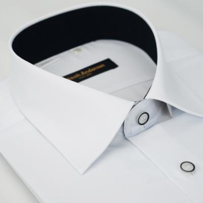 【金‧安德森】白色黑領座黑線釦吸排窄版短袖襯衫