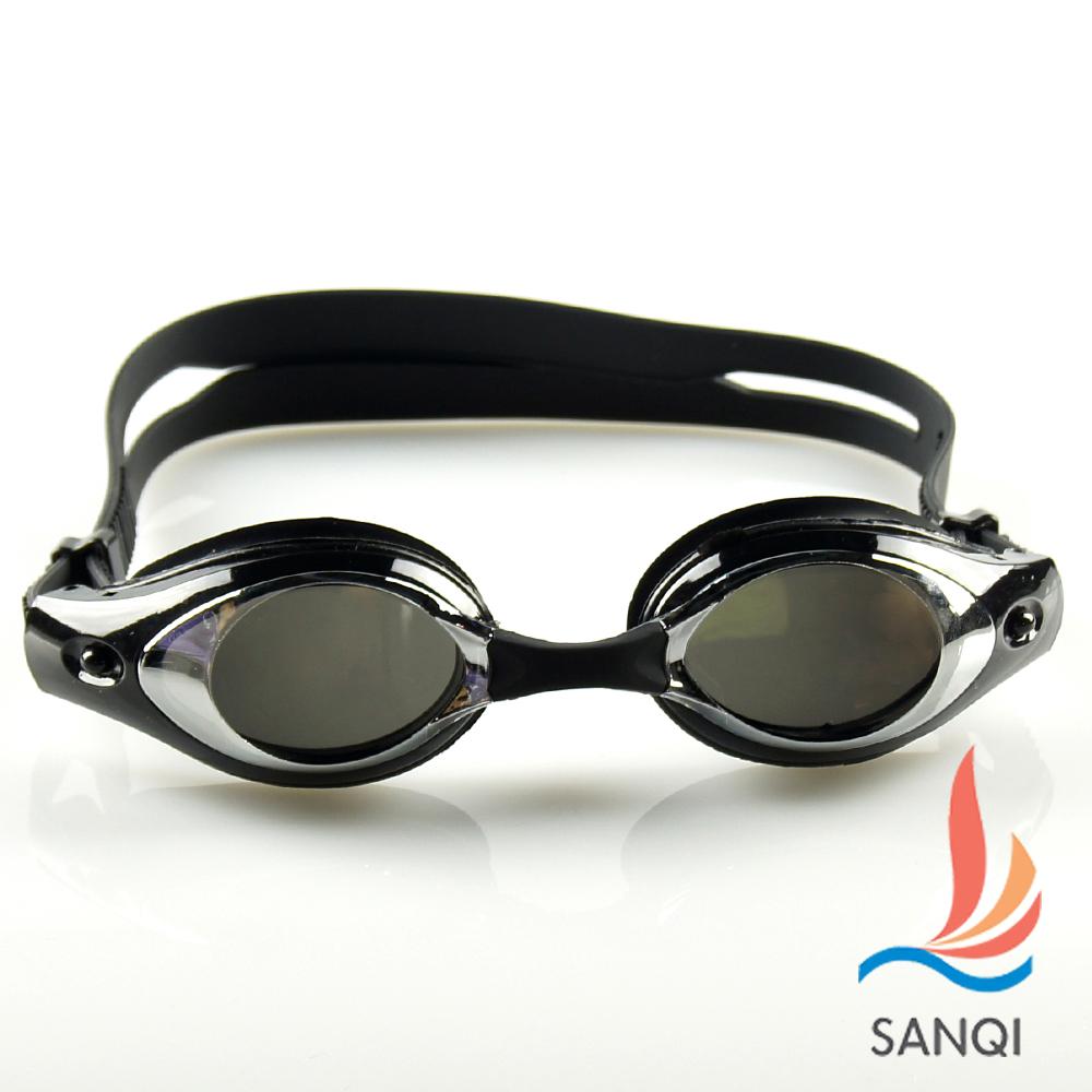 SANQI三奇 夏日必備抗UV防霧休閒泳鏡(7900-黑F)