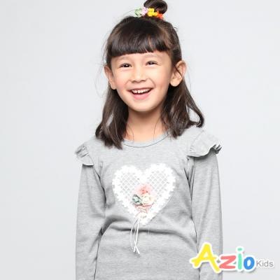 Azio Kids 女童 上衣 愛心玫瑰肩波浪造型長袖上衣 (灰)