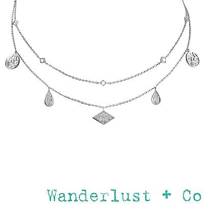 Wanderlust+Co 澳洲品牌 閃耀銀河星系鑲鑽項鍊 銀色鑲鑽雙層頸鍊 GALAXY