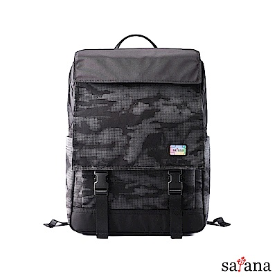 satana - Reflective 雙蓋式電腦後背包 - 黑反光迷彩
