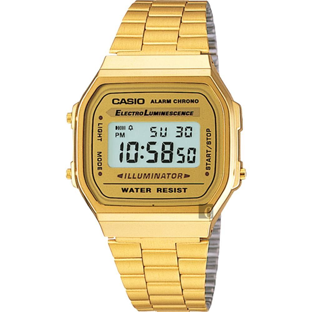 CASIO 卡西歐 復刻方型金錶(A-168WG-9WDF)