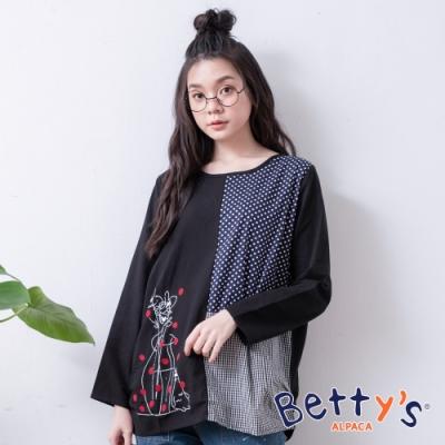 betty's貝蒂思 圓點格紋拼接上衣(黑色)