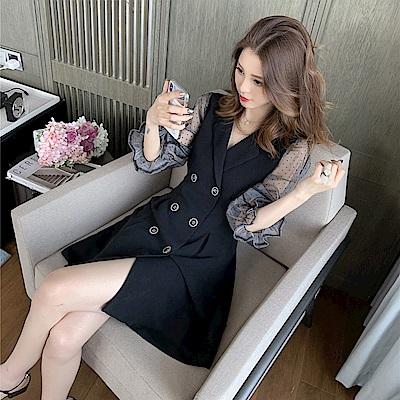 DABI 韓國風復古波點網紗拼接長袖洋裝