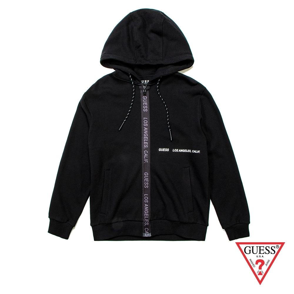 GUESS-男裝-休閒連帽長袖外套-黑