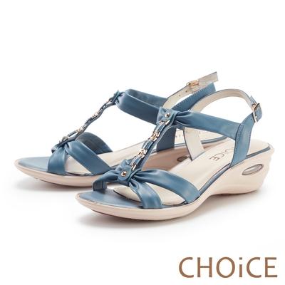 CHOiCE 真皮水鑽串鍊楔型氣墊 女 涼鞋 藍色