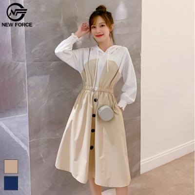 NEW FORCE 時尚假兩件公主風洋裝-卡其