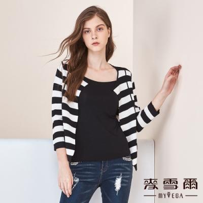 【麥雪爾】黑白條口袋裝飾針織小外套