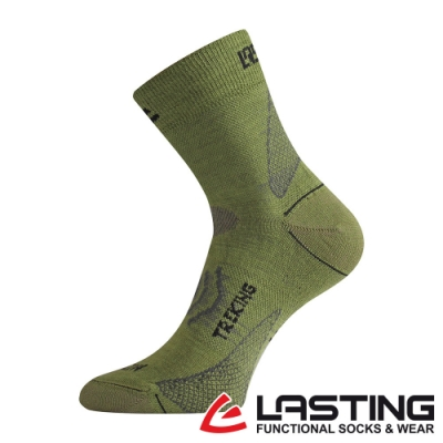 【LASTING捷克】男款美麗諾羊毛抗菌除臭吸濕排汗中筒運動襪/薄襪LT-TNW綠