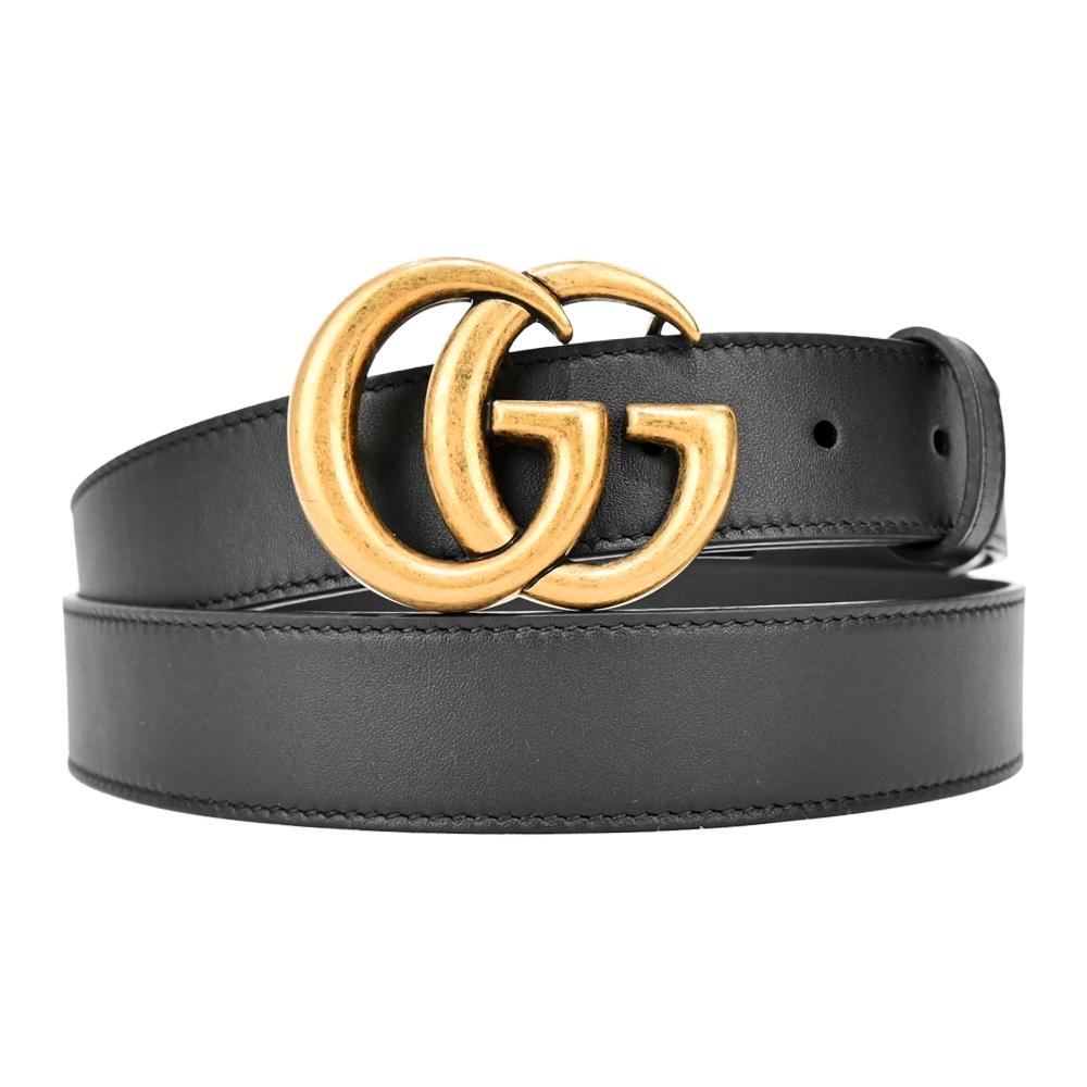 GUCCI 滑面皮革黃銅雙G金屬扣男士皮帶(金x黑)