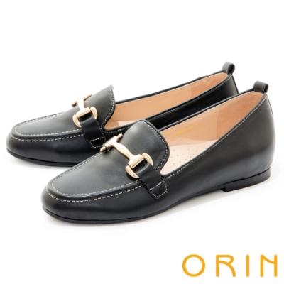 ORIN 經典馬銜釦真皮樂福 女 平底鞋 黑色