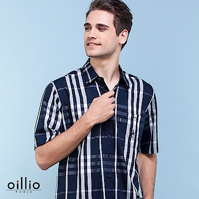 歐洲貴族oillio 短袖襯衫 細膩花紋 竹纖維布料 藍色