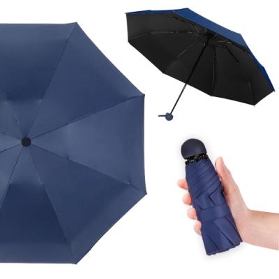 幸福揚邑 抗UV降溫8骨防風防潑水大傘面五折迷你晴雨口袋傘(深藍)