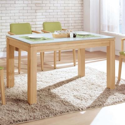 H&D 喬伊4.3尺原木色白玻餐桌