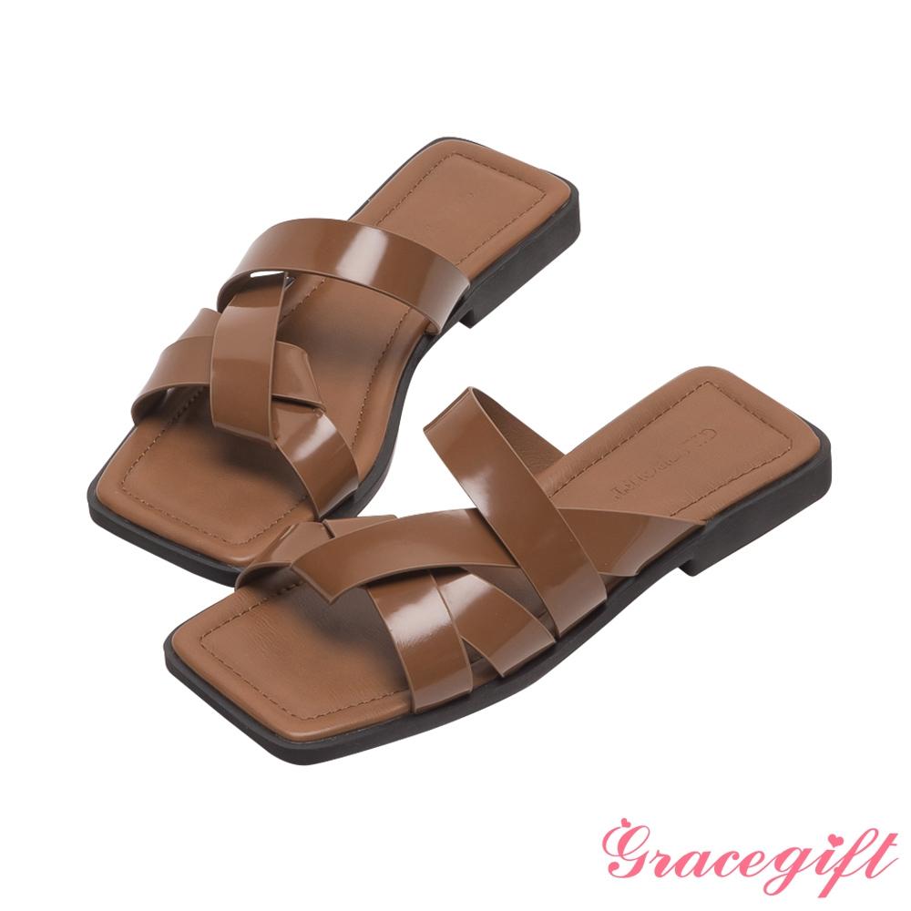 Grace gift-寬帶編織平底涼拖鞋 棕