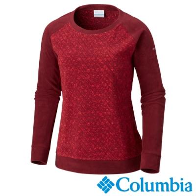 Columbia 哥倫比亞 女款-Fleece刷毛長袖上衣-暗紅