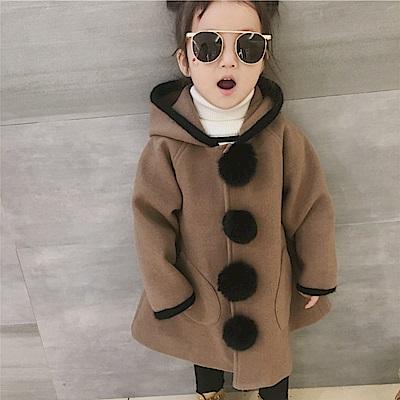 小衣衫童裝    中小童可愛毛毛球連帽大衣毛呢外套1071128