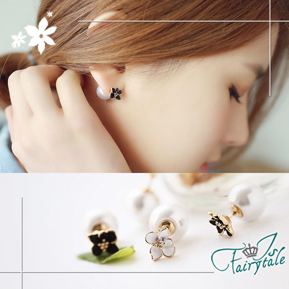 iSFairytale伊飾童話 氣質雛菊 雙面穿搭珍珠耳環 2色可選