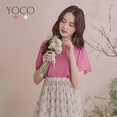 東京著衣-YOCO 簡約高雅純色喇叭袖上衣-S.M.L(共三色)