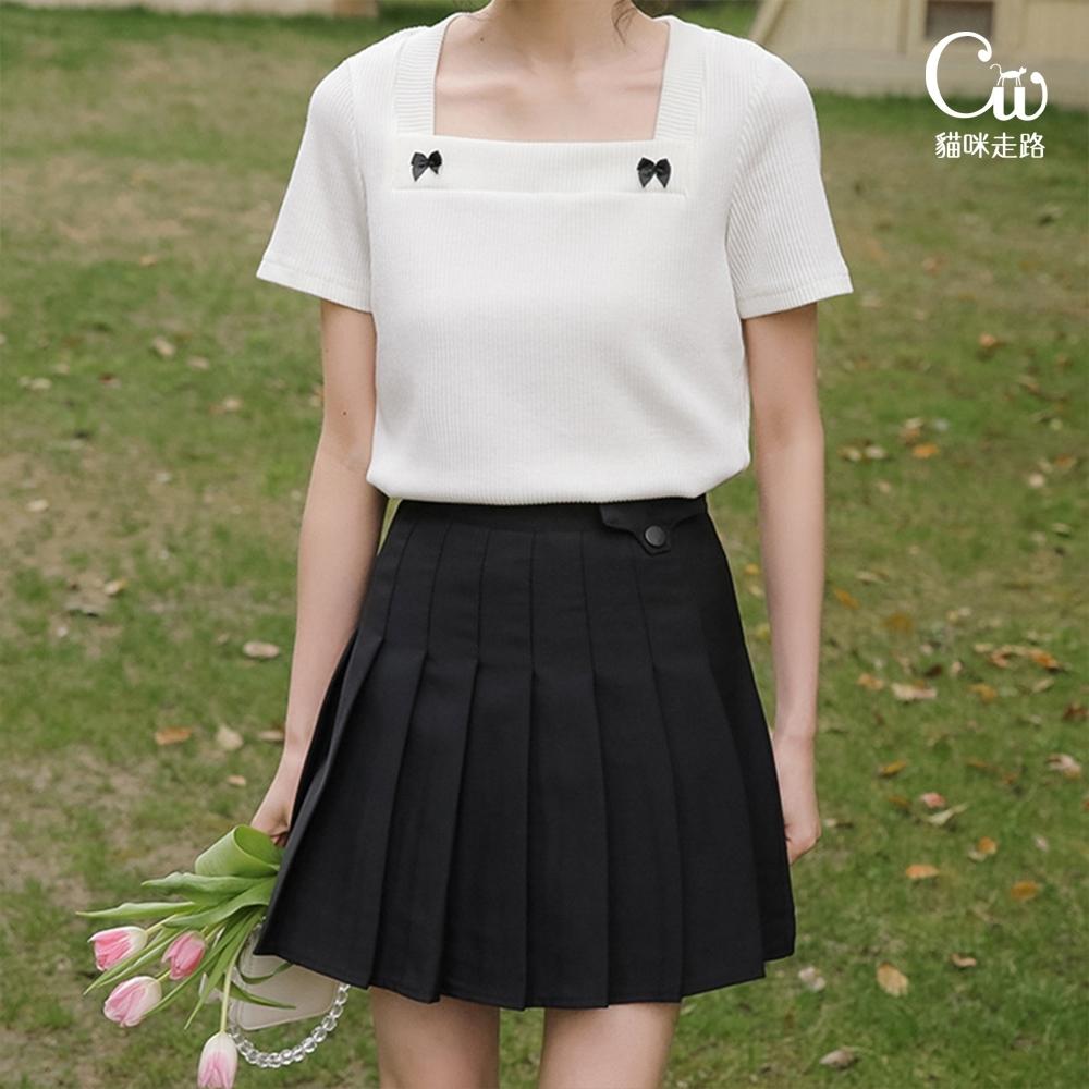 [CW.貓咪走路]韓版學院風氣質百褶短裙(KDS-11016) (黑色)
