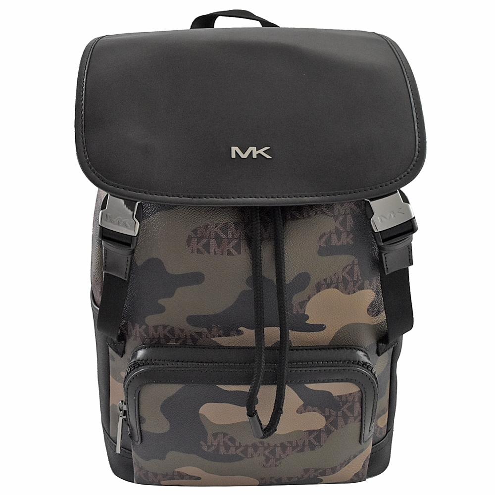 MICHAEL KORS COOPER金屬MK迷彩PVC翻蓋後背包(黑綠)