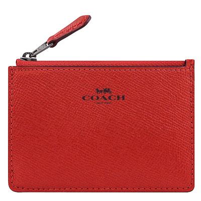 COACH 紅色光澤防刮皮革鑰匙零錢包