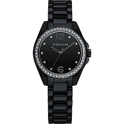 Coach Tristen 紐約摩登陶瓷女錶-黑/28mm (14502130)