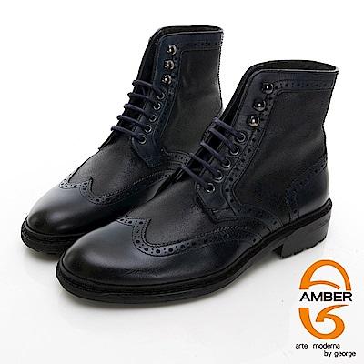 【AMBER】 俏麗時尚 葡萄牙進口綁帶拼接花雕馬丁靴-黑色