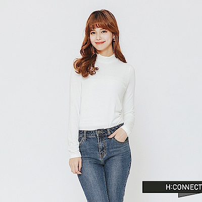 H:CONNECT 韓國品牌 女裝-簡約素色小立領上衣-白
